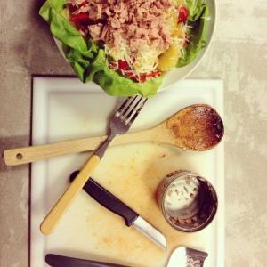 Lauwwarme tonijnsalade met paprika